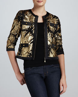 Michael Simon Gold-Ribbon Zip Jacket & Knit Tank, Women's