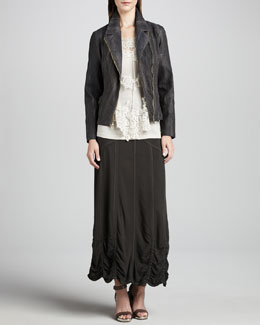 XCVI Snake-Print Moto Jacket, Pierrette Sheer Lace Top, Slim Tank & Alva Maxi Ruched-Hem Skirt, Women's