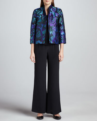 Caroline Rose Emerald City Jacquard Jacket, Silk Crepe Tank & Wide-Leg Crepe Pants, Petite