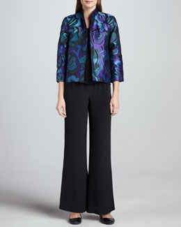Caroline Rose Emerald City Jacquard Jacket, Silk Crepe Tank & Wide-Leg Crepe Pants, Women's