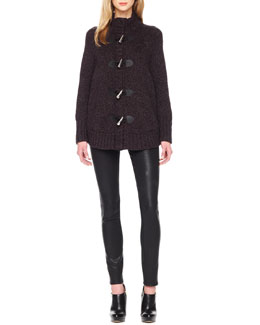 MICHAEL Michael Kors  Toggle-Front Cape Cardigan & Waxed Skinny Jeans