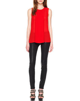 MICHAEL Michael Kors  Pleated-Panel Sleeveless Top & Waxed Skinny Jeans
