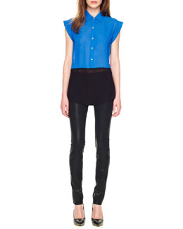 MICHAEL Michael Kors  Two-Tone Cap-Sleeve Blouse & Waxed Skinny Jeans