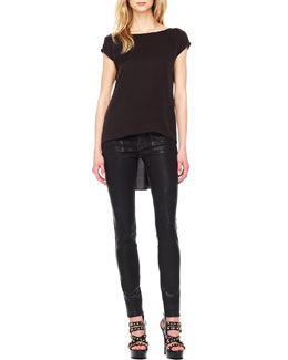 MICHAEL Michael Kors  High-Low Silk Tee & Waxed Skinny Jeans