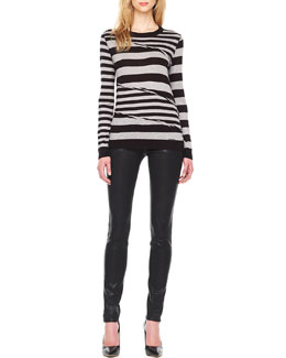 MICHAEL Michael Kors  Wrapped Mix-Stripe Top & Waxed Skinny Jeans