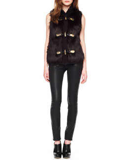 MICHAEL Michael Kors  Faux-Fur Toggle Vest & Waxed Skinny Jeans