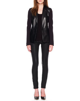 MICHAEL Michael Kors  Ponte/Leather Blazer & Waxed Skinny Jeans