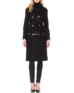 MICHAEL Michael Kors  Knee-Length Trenchcoat & Waxed Skinny Jeans