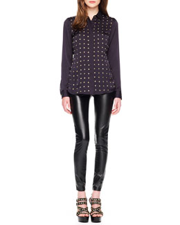 MICHAEL Michael Kors  Studded Long-Sleeve Blouse & Faux-Leather Leggings