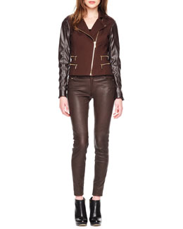 MICHAEL Michael Kors  Leather-Sleeve Zipper Jacket & Stretch-Leather Skinny Jeans