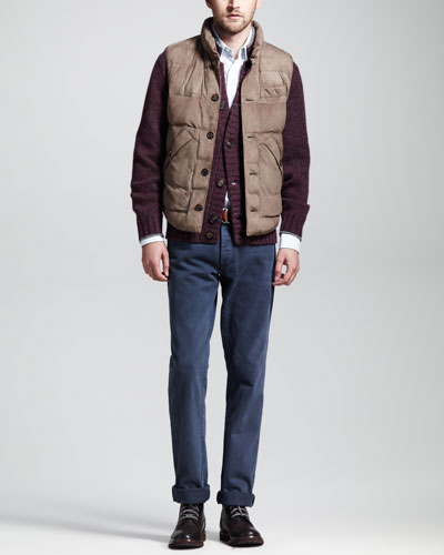 Brunello Cucinelli Quilted Suede Vest, Buttoned Cashmere Cardigan & Striped Oxford Button-Down