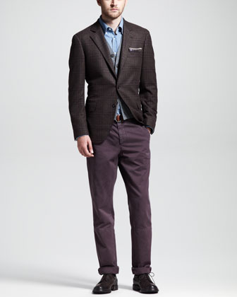 Glen Plain Sport Coat, Cashmere V-Neck Cardigan Vest & Basic Slim Aviator ...