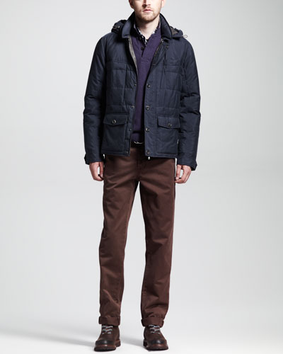 Brunello Cucinelli Hooded Silk Down Jacket, Twill Six-Pocket Pants, Multi-Check Long-Sleeve Shirt