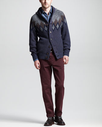 12-Ply Andes Knit Cardigan, Western Denim Shirt & Twill Six-Pocket Pants