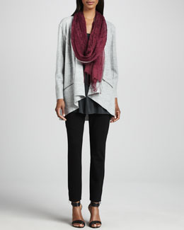 Eileen Fisher Lightweight Boiled Wool Jacket, Jersey Tunic, Linen Weave Scarf & Skinny Ankle Pants, Women's
