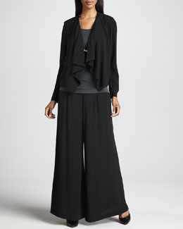 Eileen Fisher Draped-Front Silk Jacket, Silk Jersey Camisole & Silk Wide-Leg Pants, Petite
