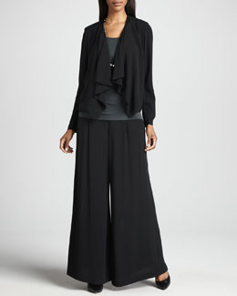 Eileen Fisher Draped-Front Silk Jacket, Silk Jersey Camisole & Silk Wide-Leg Pants, Women's