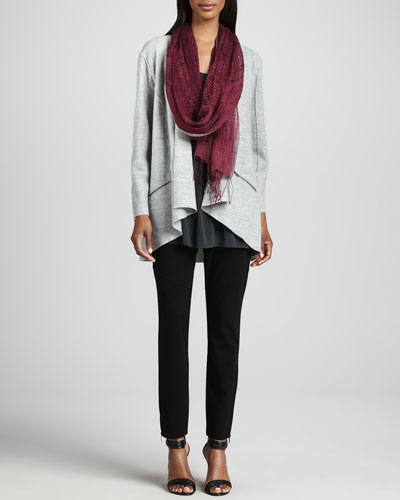 Eileen Fisher Lightweight Boiled Wool Jacket, Jersey Tunic, Linen Weave Scarf & Skinny Ankle Pants