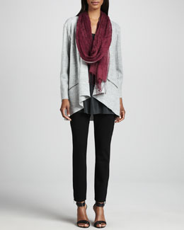 Eileen Fisher Lightweight Boiled Wool Jacket, Jersey Tunic, Linen Weave Scarf & Skinny Ankle Pants, Petite