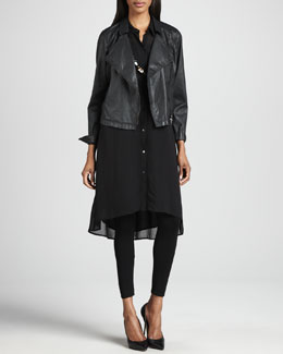 Eileen Fisher Waxed Short Moto Jacket, Georgette Tunic/Dress & Jersey Ankle Leggings