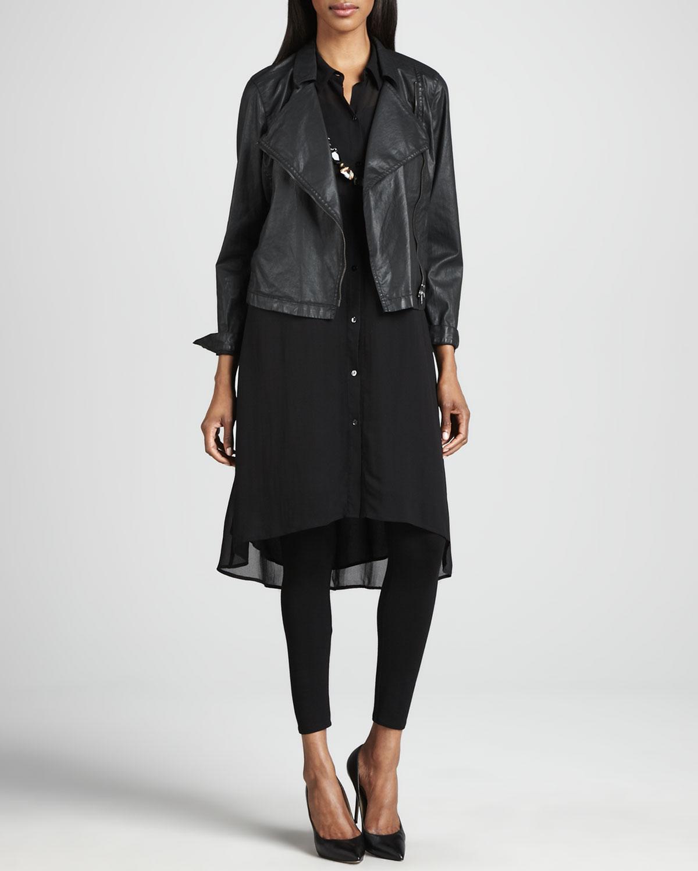 Waxed Short Moto Jacket, Georgette Tunic/Dress & Jersey Ankle Leggings
