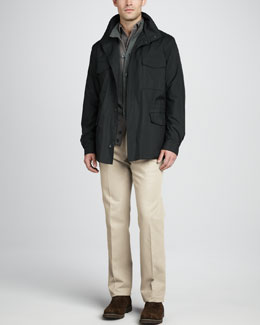 Loro Piana Windmate Storm System Jacket, Cashmere Donegal Knit Bomber Sweater, Long-Sleeve Pique Polo & Four-Pocket Twill Pants