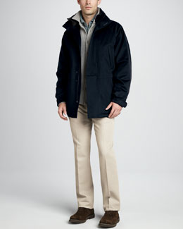Loro Piana Icer Storm System Jacket, Cashmere Sweater Shirt, Pique Polo & Four-Pocket Twill Pants