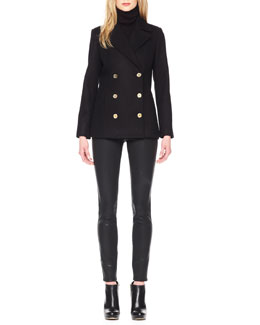 MICHAEL Michael Kors  Classic Pea Coat, Ribbed Sleeveless Turtleneck & Waxed Skinny Jeans