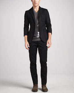 Dolce & Gabbana Raw-Edge Patch-Pocket Blazer, V-Neck with Saint Graphic & Twill Pants