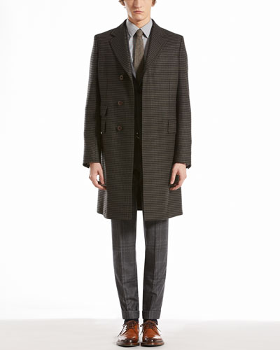 Gucci Houndstooth Three-Button Overcoat, Check Flannel Dylan Suit & Check Muslin Slim Shirt