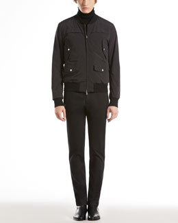 Gucci Nylon Bomber Jacket, Lightweight Turtleneck Sweater & Washed Stretch Fitted Pants