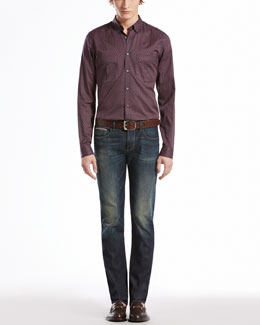 Gucci Stirrup-Print Military Shirt & Dark Denim Five-Pocket Skinny Jeans