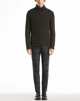 Gucci Heavy Cable Knit Sweater & Check Riding Pants