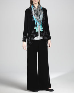 Johnny Was Collection Benni Velvet Embroidered Cardigan, Cassi Silk Velvet Pants & Tracery Printed Silk Scarf