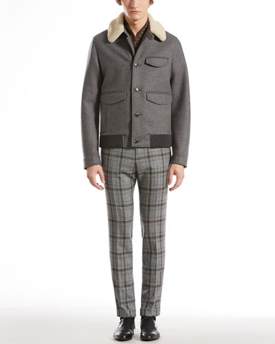 Gucci Felt Jacket with Shearling Collar, Plaid Skinny Pants & Printed Silk-Twill Scarf