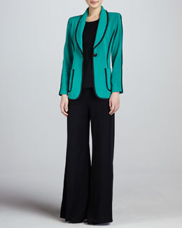 Misook Modern Faux-Suede-Piped Jacket, Sleeveless Knit Tank & Fit & Knit Palazzo Pants