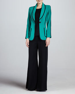 Misook Modern Faux-Suede-Piped Jacket, Sleeveless Knit Tank & Fit & Knit Palazzo Pants, Petite