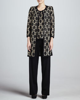 Misook Brocade Jacquard Long Jacket, Tank & Boot-Cut Pants