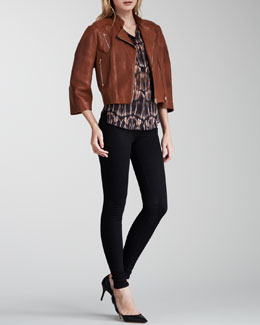 J Brand Ready to Wear Constance Cropped Leather Jacket, Morisot Printed Sleeveless Blouse & High-Rise Maria Skinny Jeans
