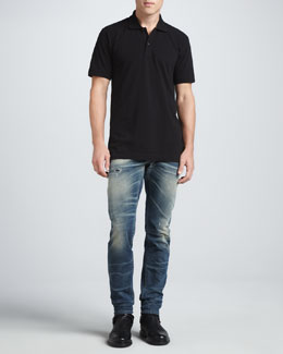 Dolce & Gabbana Short-Sleeve Logo Polo & Faded Blue Gold Jeans