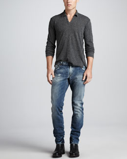 Dolce & Gabbana Heather Long-Sleeve Henley & Faded Blue Gold Jeans