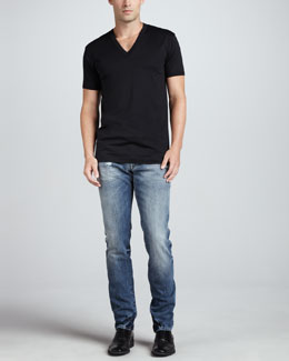Dolce & Gabbana V Neck Jersey Tee & Faded Blue Gold Jeans