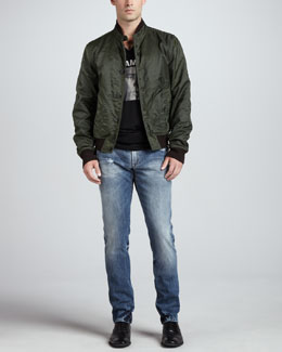 Dolce & Gabbana Raw-Edge Jacket with Sweater Trim & Faded Blue Gold Jeans