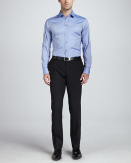 Dolce & Gabbana Martini Iridescent Button-Down & Flat-Front Wool Pants