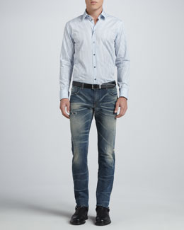 Dolce & Gabbana Martini Micro-Dot Stripe Shirt & Faded Blue Gold Jeans