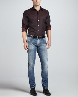 Dolce & Gabbana Patterned Sport Shirt & Faded Blue Gold Jeans