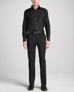 Dolce & Gabbana Double-Striped Martini Shirt & Flat-Front Wool Pants