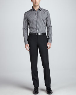 Dolce & Gabbana Martini Striped Button-Down & Flat-Front Wool Pants
