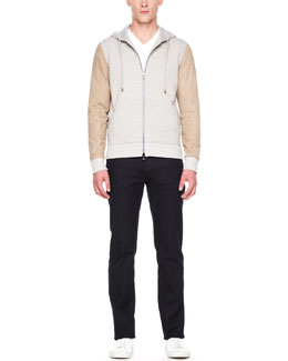 Michael Kors  Suede-Sleeve Hoodie, Liquid Jersey V-Neck Tee & Modern-Fit Stretch Jeans