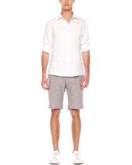 Michael Kors  Tab-Sleeve Linen Shirt & Mini-Check Shorts